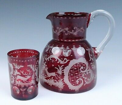 Antique Ruby Stained Etched Pitcher & Glass Tumbler Egermann Bohemian Deer Cut