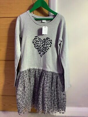 Next - girls grey dress with sequin heart to top and netted sequin skirt