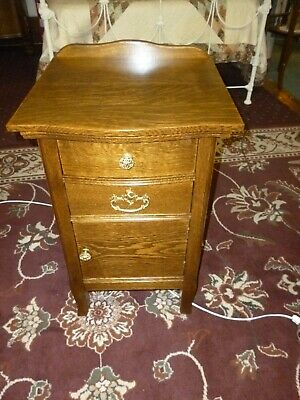Antique NightStand end table vanity washstand OAK 1900's refinished #2