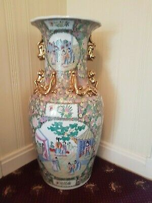 "Huge Famille Rose Oriental Chinese floor vase 37"" 94cm tall pink floral large"