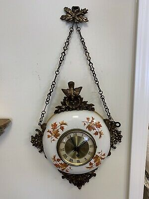Antique Porcelain And Brass 8-Day Jeweled Wall Clock