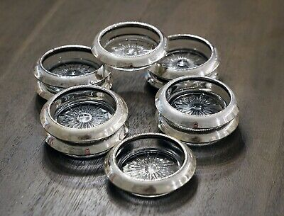 Set of 10 Sterling Silver & Crystal Coasters by B - I Sterling