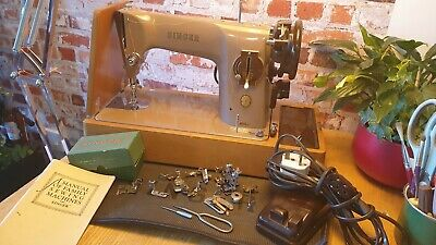 Vintage Singer 201k Sewing Machine Immaculate video leather Pat tested EM976066