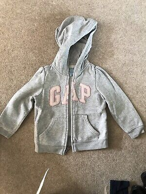 Girls Grey And Pink Zip Gap Hoody, 4 Years