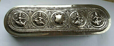 Colonial Indian Solid Silver Heavy Table Crumb / Billiard Brush Ornate & Superb