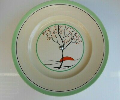"""Vintage Art Deco Burleigh Ware Hand Painted Cake Serving Plate Stand   8  3/4"""" D"""