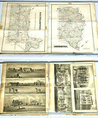 Two (2) Antique 1876 Hand-Colored PROPERTY MAPS - BUCKS COUNTY PENNSYLVANIA