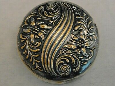 Vintage Antique Repousse Embossed Silver Plated Hinged Snuff Trinket Powder Box
