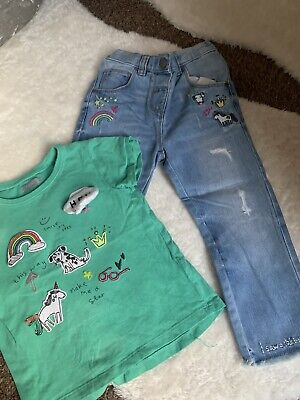 NEXT *2-3y GIRLS T-SHIRT TOP & JEANS OUTFIT AGE 2-3 YEARS