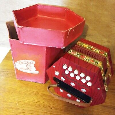 Working Vintage Bandmaster German Concertina Squeezebox 20 Buttons No 502 Boxed