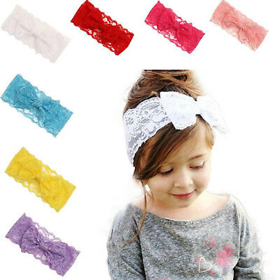 Baby Girls Headband Lace Flower Bow Elastic Hair Bands Headwear Wrap Accessories