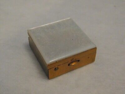 Vintage Brass Mother of Pearl Snuff Powder Pill Box Hinged Case