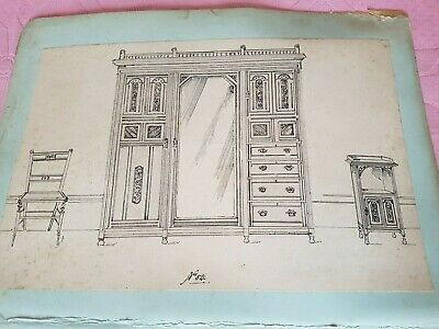 antique drawings plans print ?? architecture furniture wardrobe washstand