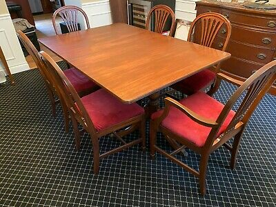 Antique Duncan Phyfe Complete Dining Table Set Mahogany 1920s Art Deco Chairs