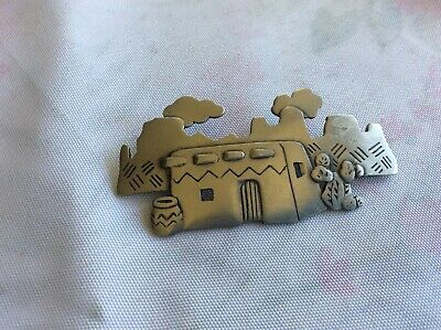 JJ 1988 SIGNED PEWTER SOUTH WESTERN Adobe Cactus Mtn BROOCH PIN