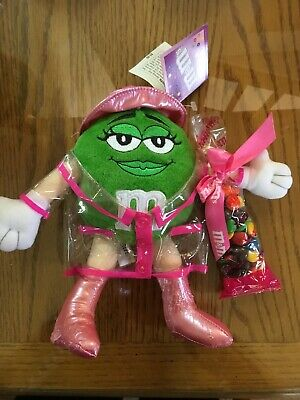 "Plush m&m's GALERIE MARS 2004 9"" Green Girl Raincoat, Boots, Hat NWT & Candy"