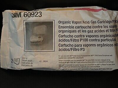 3M 60923 Organic Vapor/Acid Gas Replacement Cartridges/P100 Filter Exp 12/2024