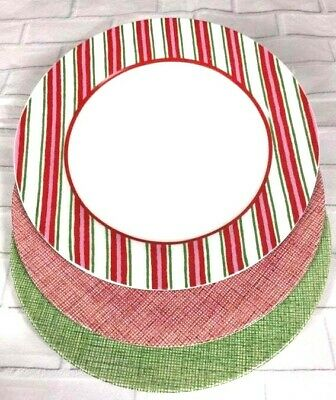 3x Xmas Plates - Royal Stafford Fine Earthenware Red Green Check - Home Striped