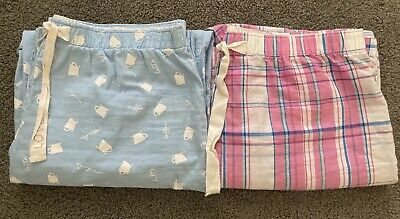 TWO Pair GAP Pajama Lounge Pants 100% Cotton Women's Size Small Blue Pink Plaid