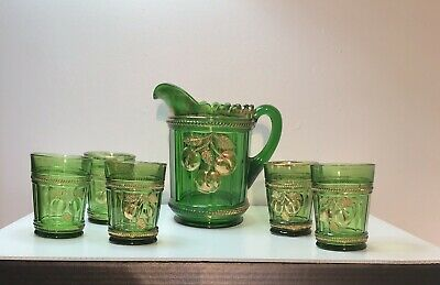 EAPG    PEACH AND CABLE    WATERSET 5-pcs   EMERALD GREEN    1908   NORTHWOOD
