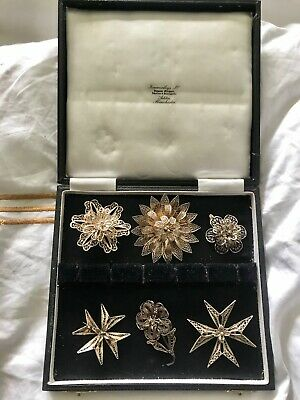 Six antique silver filigree brooches