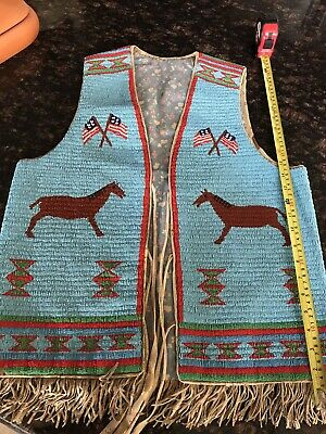 Native American Indian Double Sided Beaded Vest.