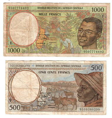 CENTRAL AFRICAN REPUBLIC Pair 500 & 1000 CFA Francs (1993-1995) P-301F-302F VF