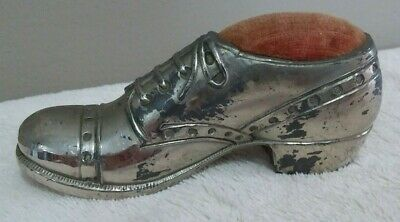 Early Vintage Antique Silver Toned Men's Shoe Pin Cushion Made in Japan