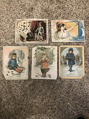 Five VICTORIAN LION COFFEE TRADE CARDS CHILDREN & TOYS CHRISTMAS LION COFFEE AD.