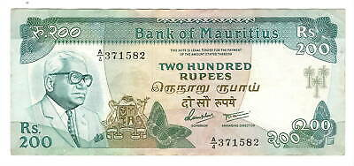 MAURITIUS 200 Rupees (1985) ND P-39a VF/XF Banknote Paper Money
