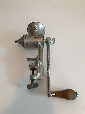Vintage Universal Meat Food Grinder No. 2 Wood Handle Crank