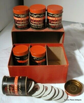 Antique Box6 Cans #497 Red Circle Typewriter Erasers Fine Edge Eagle Pencil Co