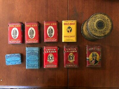 Antique Tobacco Tin Lot ~ Union Leader Uncle Sam~ Dill's Best~ Surbrug Arcadia