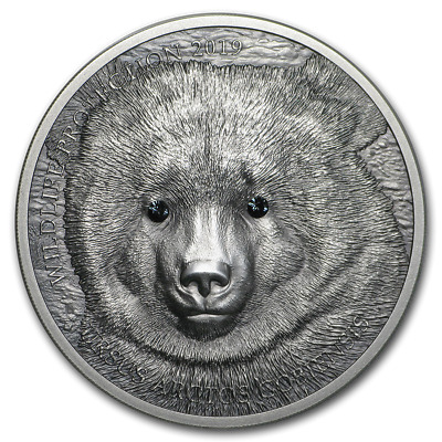 Mongolia 2019 Gobi Bear Wildlife Protection 1 Oz Silver Antique Swarovski Eyes