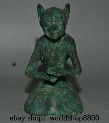 "6.8"" Antique China Bronze Ware Dynasty Palace Fox Face People Man Sculpture"