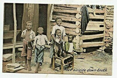 """Early Racist Black Americana: """"Race Suicide Down South"""" Children Posing At Cabin"""