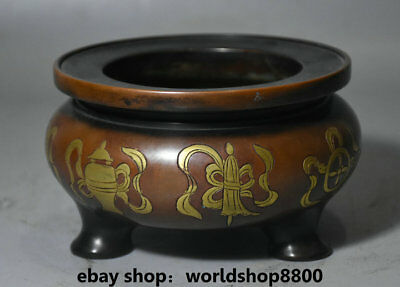 """5.2"""" Marked China Red Copper Gold 8 Auspicious Symbol Incense Burners Censer"""