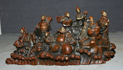 """13.2"""" Old China Feng Shui Red Copper Gold Eight Immortals Zhang Guolao Statue"""