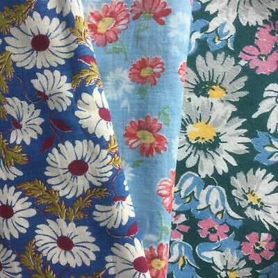 """Vintage Partial Feed Sack Lot of 3 Teal and Blue Backgrounds each app 20"""" x 18"""""""
