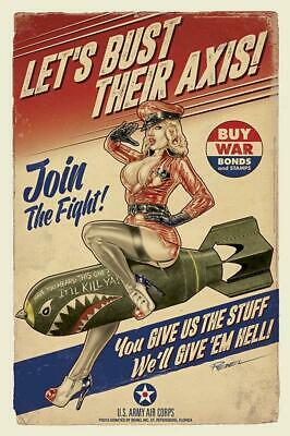 Join the Fight Poster US Army Air Corps Nice Sexy Girl WW2 WWII Photo 4x6 C