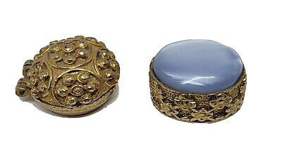 VINTAGE/ANTIQUE ORNATE GOLDTONE HINGED SNUFF OR PILL BOXES, 1 With MOONSTONE