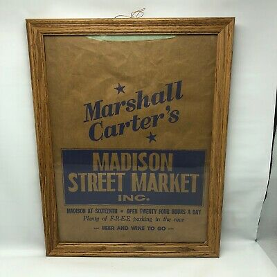 Muncie Indiana Framed Marshall carters madison street market Grocery Bag 16th St