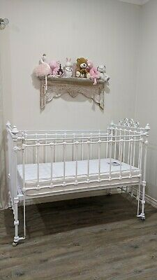 Vintage wrought iron baby cot - antique white french provincial fancy kids bed