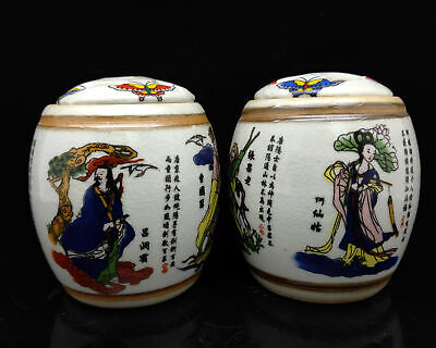 Chinese Handmade Exquisite the Eight Immortals pattern porcelain Pots   S044