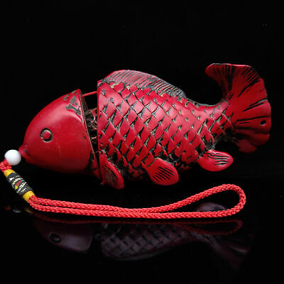 Chinese Hand-carved Exquisite Red Coral carp Model Statue Hand playing pieces