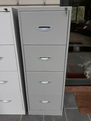 4 Drawer Grey Metal Filing Cabinet Lockable