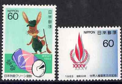 Japan 1983 - 2 for 1 - Cleanup Campaign - Rabbit - Human Rights - MNH