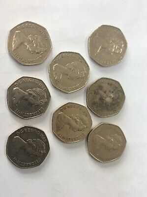 8 x Old 50 Pence Coins ALL DIFFERENT DATES 1969 - 1983 All v good Con. bar 1
