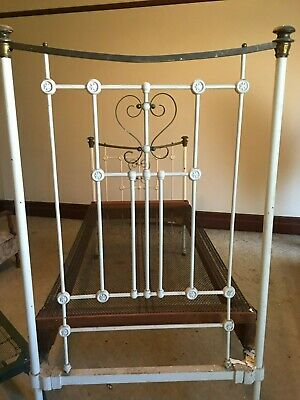 Antique Victorian Cast Iron And Brass Single Bed With Mattress And Base