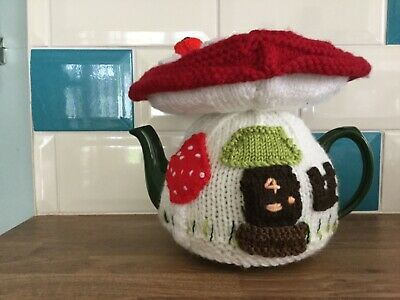 Hand knitted  ' Toadstool Fairy House ' tea cosy / cosie.Great  Gift